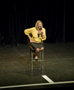 Joan on Stage at Mizzou in Columbia, Missouri. March, 2009. Photo by Clay McGlaughlin